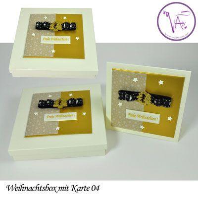 Weihnachtsverpackung - Box mit Weihnachtskarte  Nr. 04 ... eine tolle Idee um Gutscheine oder Geld originell zu verpacken ...