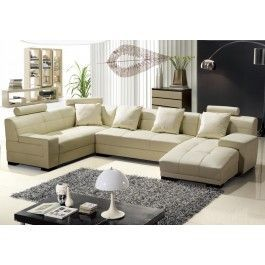 3334B Modern Beige Leather Sectional Sofa - LEATHER SECTIONAL SOFA WITH PULL-DOWN FOOTREST AND FOLD-AWAY CUPHOLDER TRAY TABLE....Unique sectional sofa ,Its contemporary look will add style and comfort to any living room space. #sofas #furniture #LAfurniture #sectionalsofa #sectionals #couches #Furnituredesign #HomeDecor #Biegesofa #leathersofa #leathersofas #leathercouch #leathercouches