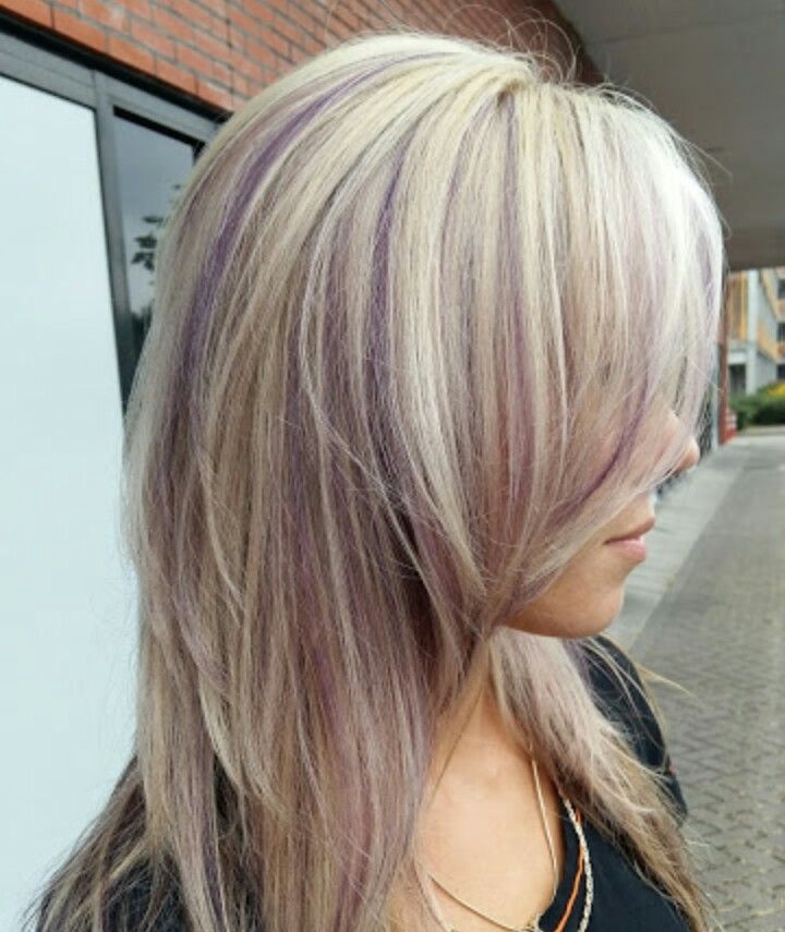 Blonde hair with purple highlights                                                                                                                                                                                 More