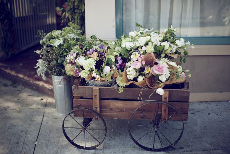 Wheelbarrow full of flowers? I just love the bunching and the lack of structure - so gorgeous.