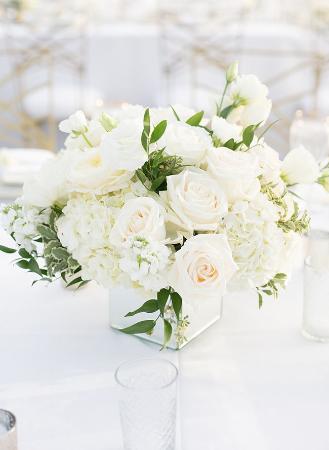 Inspiration For A Dreamy All White Wedding Inspired By This Wedding Floral Centerpieces White Wedding Flowers Centerpieces Flower Centerpieces Wedding