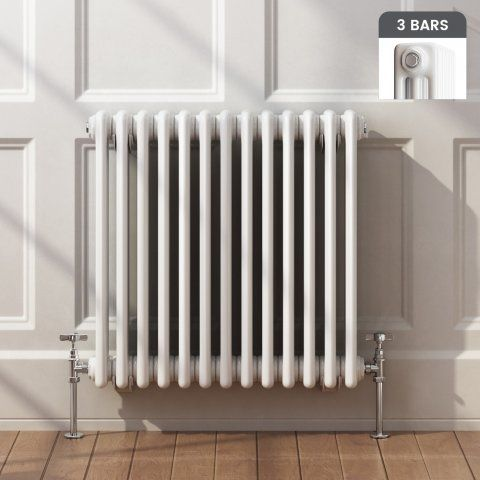 Traditional Horizontal Triple Column Traditional Gas Radiator in White 600mm x 600mm - soak.com