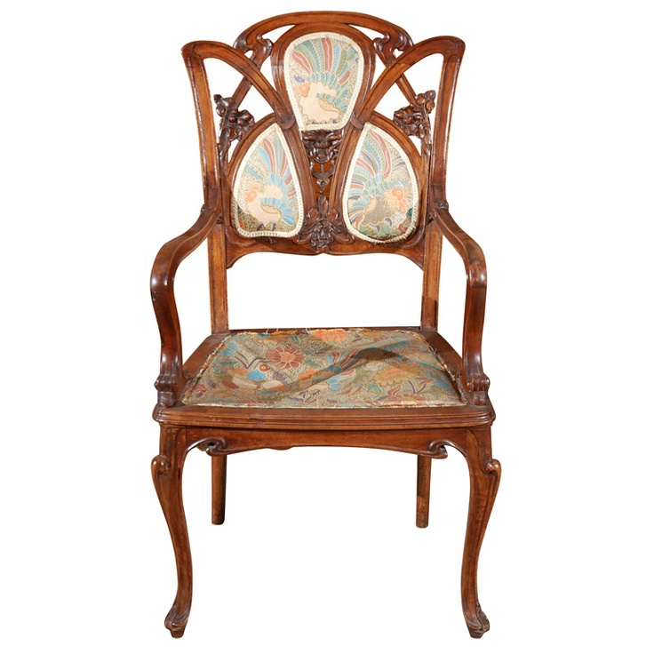 Art Nouveau Chair With Scroll Design. public domain art