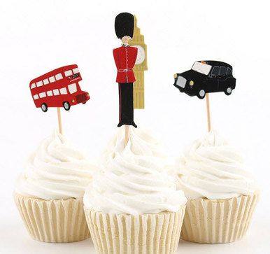 London cupcake toppers, london, britan, british, cupcake Toppers, cupcake picks, red fox tail, red fox tail llc