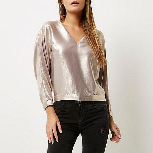Metallic pink strap back top - blouses - tops - women