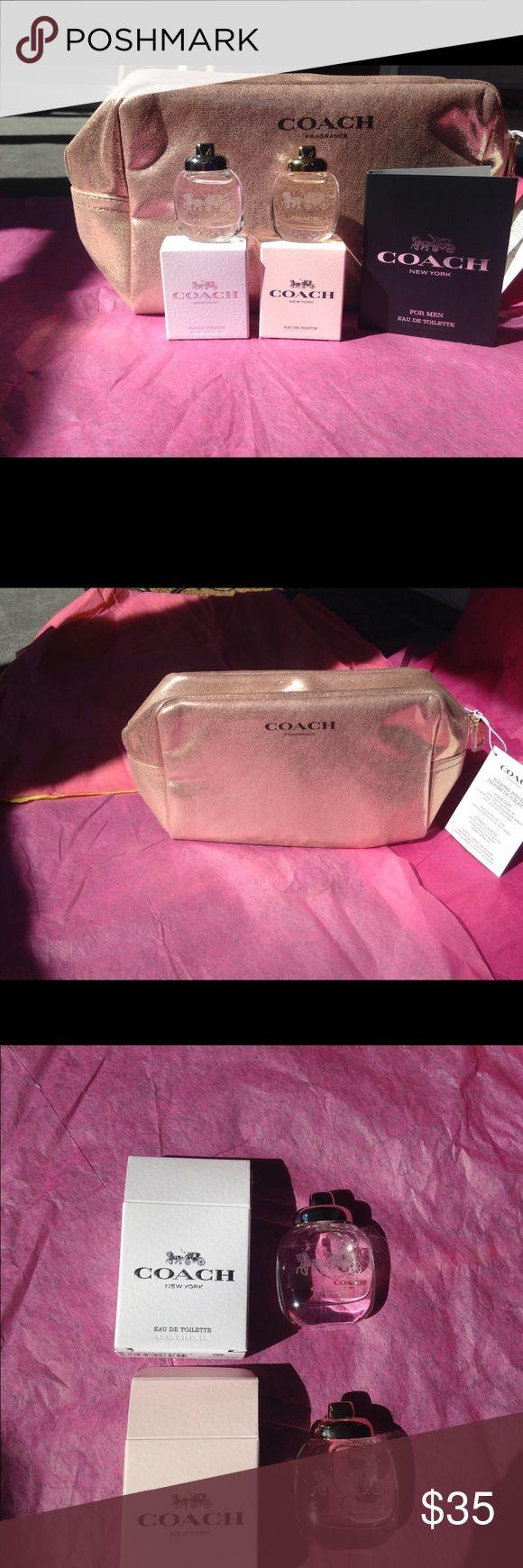 Coach fragrance set with toiletry pouch Coach Eu De Parfum 4.5 ml / 0.15 oz., Coach Eau De Toilette 4.5 ml/ 0.15 oz., Coach for men Eau De Toilette sample 2ml /0.06 oz. and Coach toiletry pouch. Coach Makeup