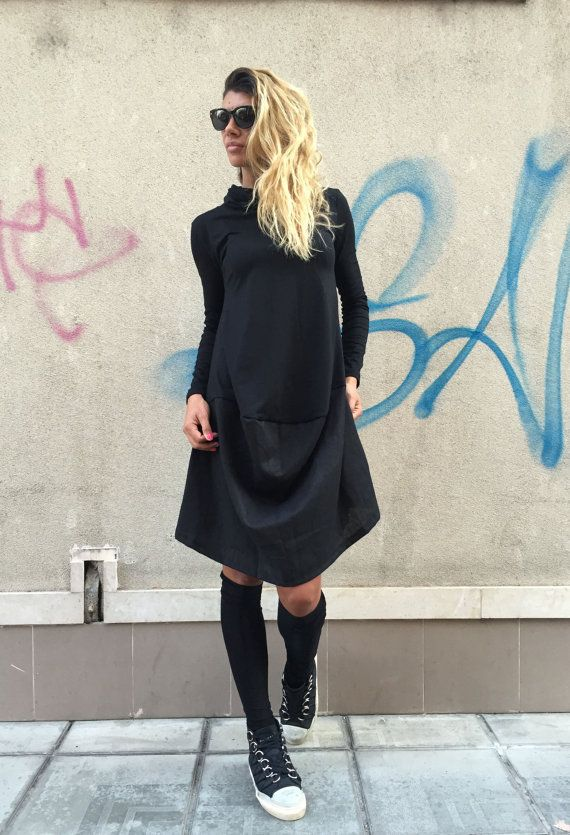 Oversize Black Tunic / Loose Casual Dress / by SSDfashion on Etsy