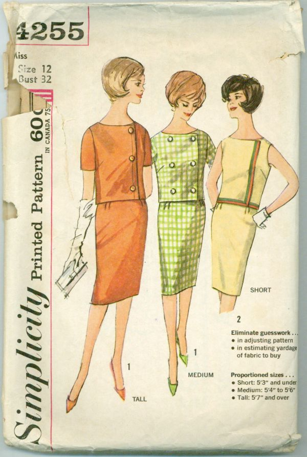 Simplicity 4255 - Proportioned Two-Piece Dress in Short, Medium, and Tall
