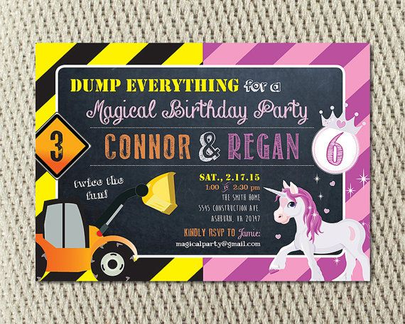 Joint Birthday Party Construction and by YondeeCelebrations