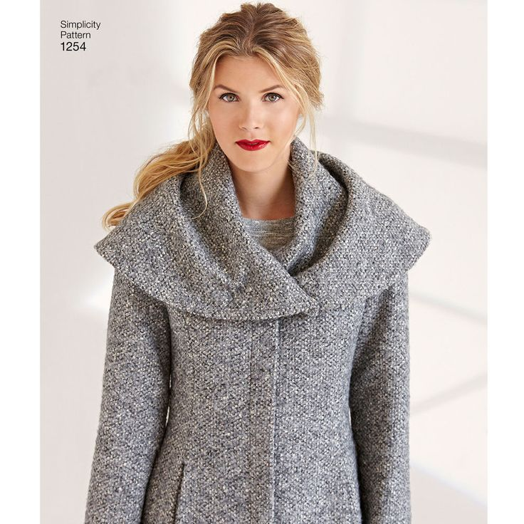 This easy-to-sew lined coat or jacket is sure to be a hit. Over-sized collar can be worn like a shawl or a hood for extra warmth and great winter style. Simplicity sewing pattern from Leanne Marshall.