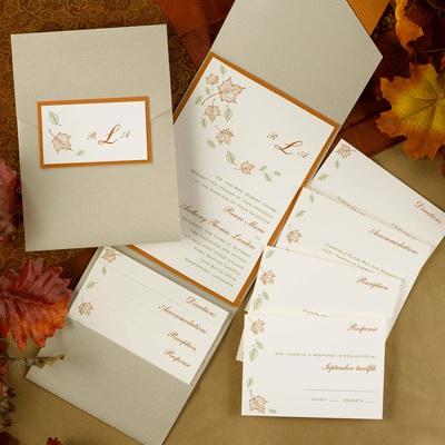 Invitation Idea For Autumn Weddings Features This Leaf Themed With Gold Pocket Is Perfect An Wedding