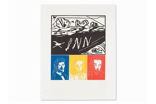Werner Büttner, A. Oehlen, Rhein Inn Main Po, 4 Prints, 1985Set of 4 woodcuts in colors on wove p