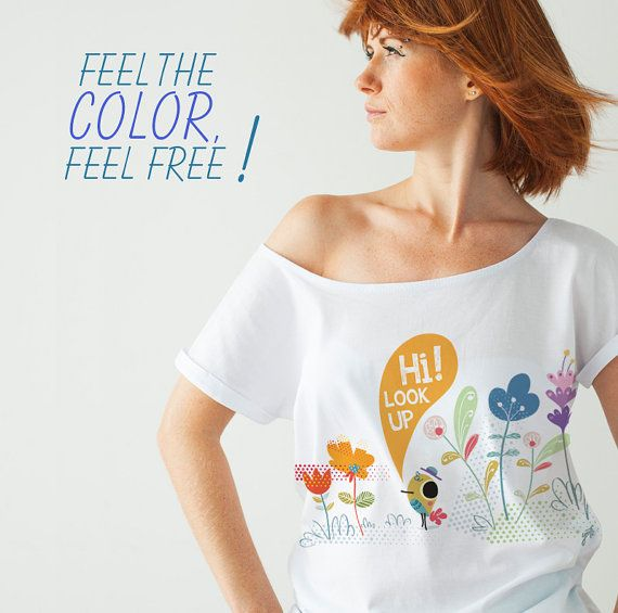 Spring Flowers White TShirt Long Look Up Organic by COCOYOstore, €22.30
