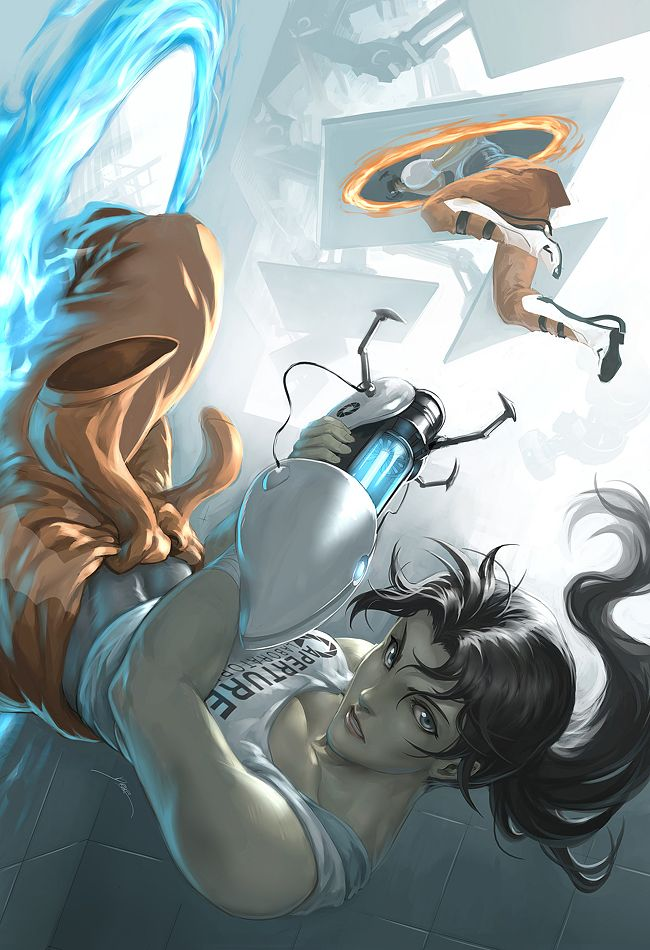 Chell by *Quirkilicious on deviantART  I love the attention to detail and the tone of the composition, I think this would make a very good scroll poster!