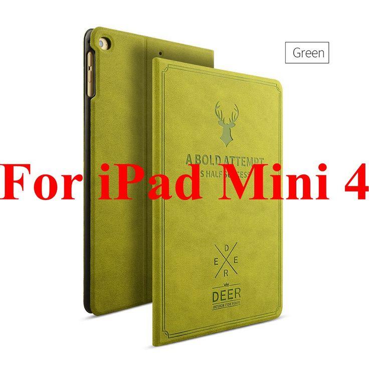 Luxury Leather Case For iPad Mini 1 2 3 4 Smart Sleep Awake Deer Art Print Pattern Stand Function Flip Full Cover For iPad Mini2
