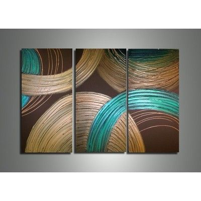 Image for Textured Circles Oil Painting-  36 w x 28h - 3 Panels from SHOP.CA