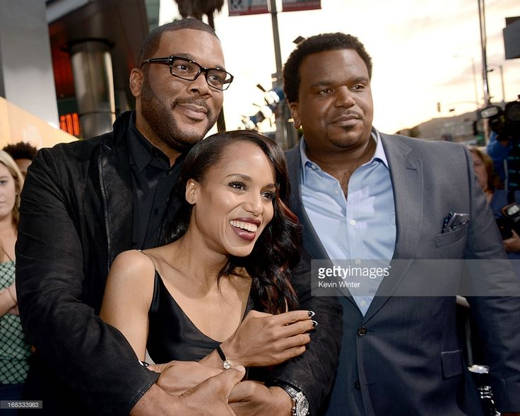 Producer Tyler Perry, actors Kerry Washington, and Craig Robinson arrive at the premiere of 'Peeples' presented by Lionsgate Film and Tyler Perry at ArcLight Hollywood on May 8, 2013 in Hollywood, California.