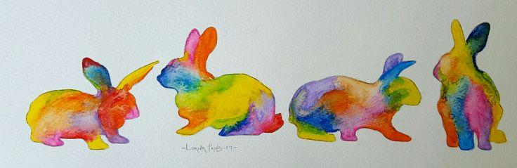 Bunnies 1 Artist Lorna Pauls  Watercolors on 300g Bockingford paper  Done April 2017