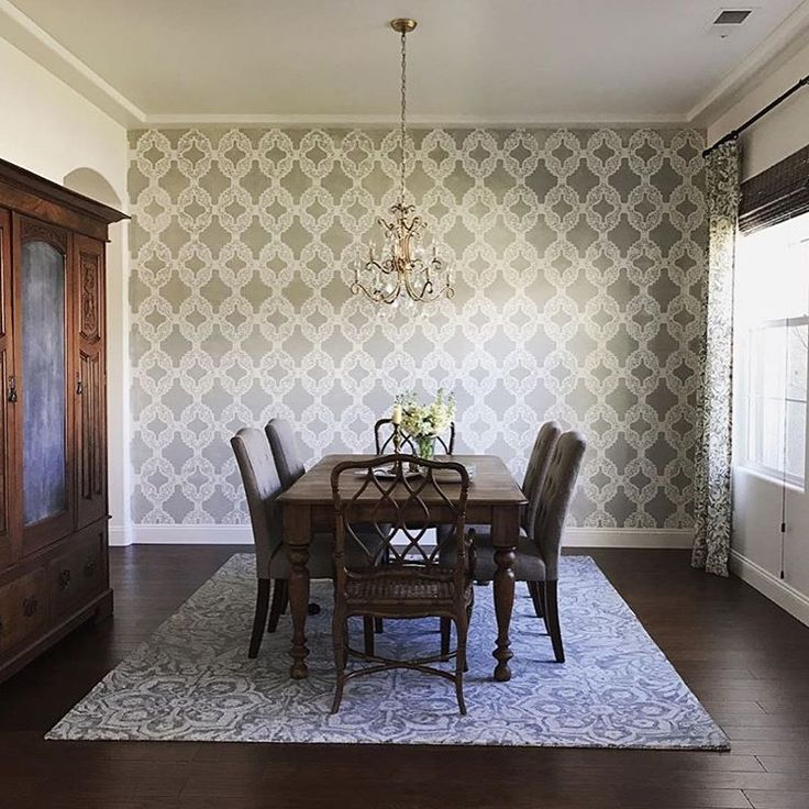 A DIY Stenciled Feature Wall In A Dining Room Using The Rio Allover Stencil  From Cutting Part 9