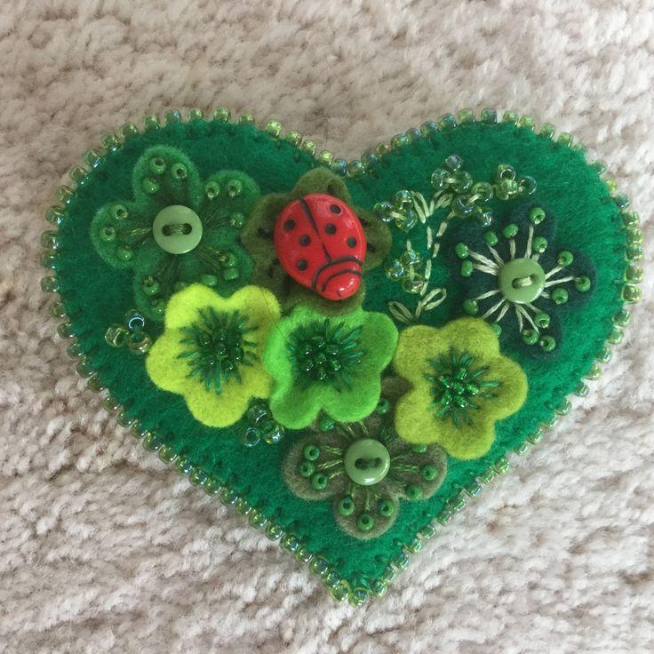 A personal favorite from my Etsy shop https://www.etsy.com/listing/580073724/lynn-felt-brooch-green-felt-heart-with