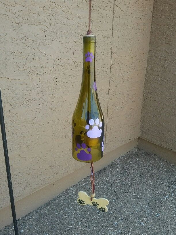Wind chimes,dog lover gift,dog paw art,repurposed yard art,dog paw chime,new puppy gift,painted purple paws, love these paws in the wind by WaggyPawChimes on Etsy