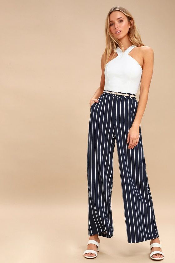 275a1619fd Every it-girl needs a classic pant like the PPLA Malcolm Navy Blue and  White Striped Wide Leg Pants! Lightweight woven pants have a high-waisted  fit.
