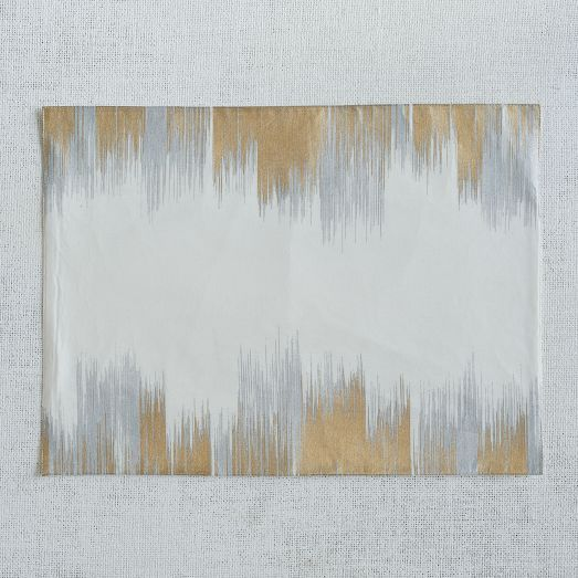 Enchanted Ikat Placemat Set | west elm -- in gold/silver (also in navy/gold), machine wash & dry, set of 2, $20.