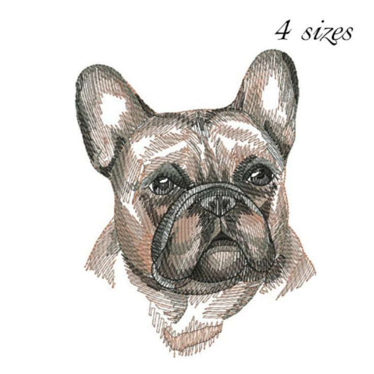 french bulldog embroidery design  digital download dog embroidery by GretaembroideryShop on Etsy