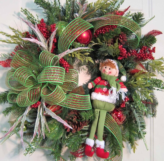XL Elf Christmas Door Wreath Outdoor Holiday by LadybugWreaths