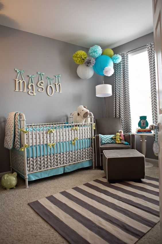 LOVE this room! Especially the colors & bedding Chambre Bébé décoration Nursery garçon fille baby bedroom boys girls enfant diy home made fait maison: