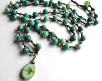 Aqua de ganchillo con cuentas wrap pulsera / collar, joyas de ganchillo, moda de verano, joyas de Bohemia, coffycrochet, joyería de verano, regalo para ella