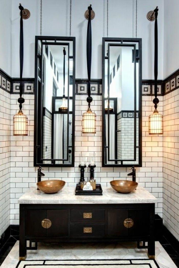 Grand Le Miroir Salle De Bain   élément Clé De La Décoration   Archzine.fr | My  Home | Art Deco Bathroom, Industrial Bathroom, Bathroom