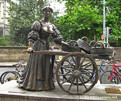 "Day 100 - Molly Malone (of Cockles & Mussels fame) statue in Dublin near Trinity College.  She is affectionately referred to as ""The Tart with the Cart"""