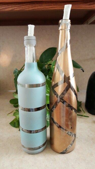 Wine glass tiki torches.