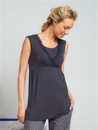 Débardeur homewear grossesse et allaitement BLANC CASSE+BLEU GRISE+ROSE FONCE - vertbaudet enfant