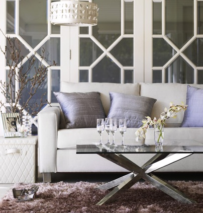 Soft and lovely... silvery and lavender hues. Love the contemporary french doors.: