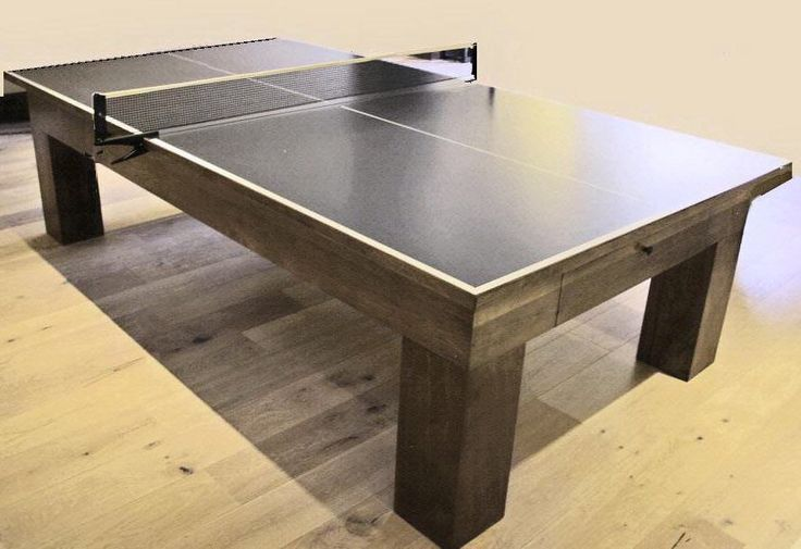 Modern custom PingPong table with accessory drawer. Built in walnut, with a custom finish, the table could be built in a variety of woods with distressing if desired.