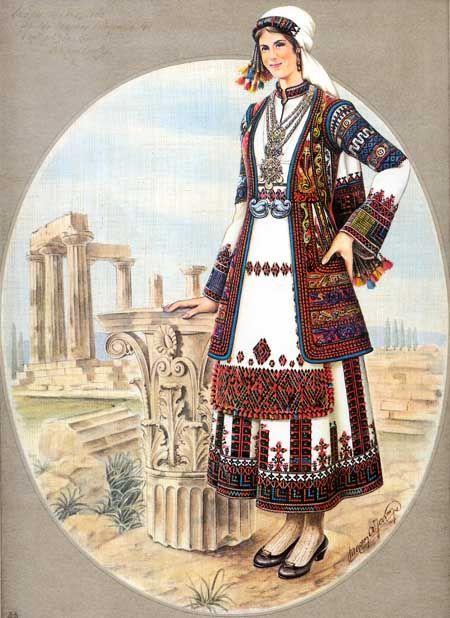 Κόρη της Κορίνθου με την τοπικήν ενδυμασίαν της και με θέα την Ακροκόρινθο.