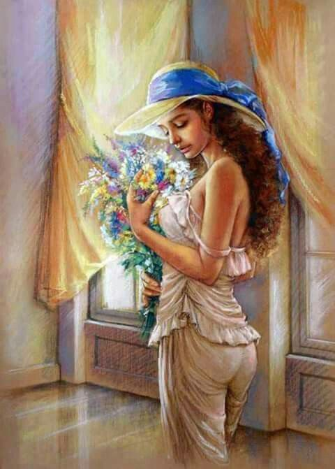 Young Woman with Luth Greeting Card for Sale by MGL
