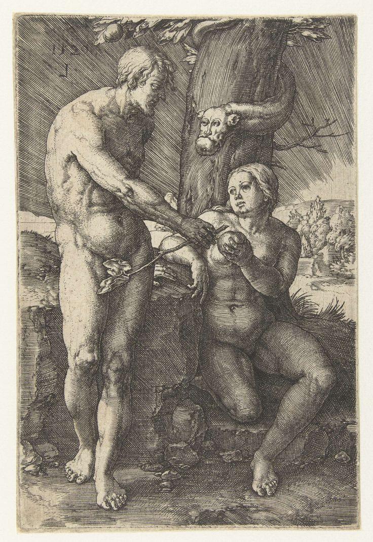 Lucas van Leyden | De zondeval, Lucas van Leyden, 1529 | Eva overhandigt de vrucht aan Adam. In de boom een slang met het gezicht van een man.