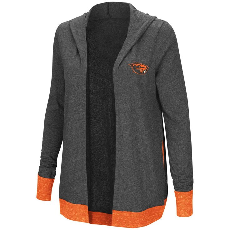 Women's Colosseum Charcoal Oregon State Beavers Steeplechase Open Hooded Tri-Blend Cardigan