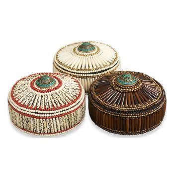 Pashtun Global Colored Bone Inlay Decorative Boxes- Set of 3. #kathykuohome #boxes #GlobalBazaar