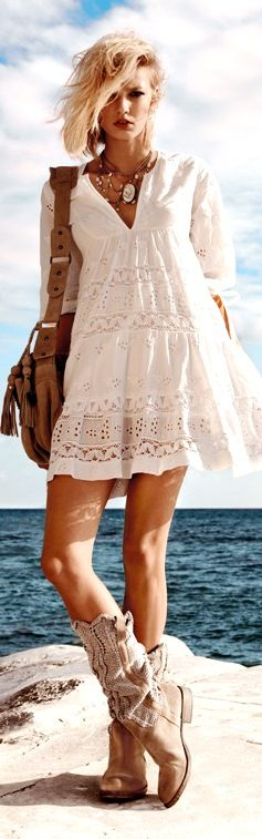 Pretty summer frock with lace detail paired with comfy kilim cowboy boots. Fresh chic.