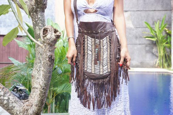 Boho Purse Bag Bohemian Bag Boho Navajo Leather by BramsKaraDesign