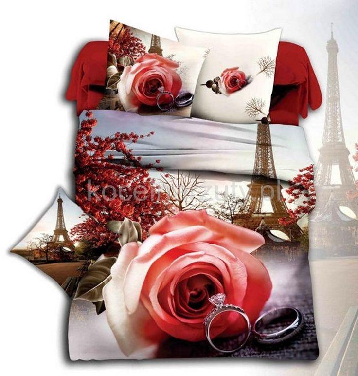 Pościel z mikrowłókna w kolorze szarym z motywem romantycznym