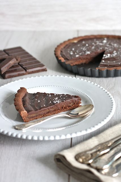 Chocolate Caramel Tart with Fleur de Sel - chocolate crust, caramel sauce and topped with melted chocolate and fluer de sel.