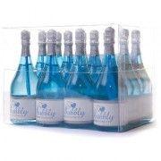 blue champagne bottle bubbles table decorations