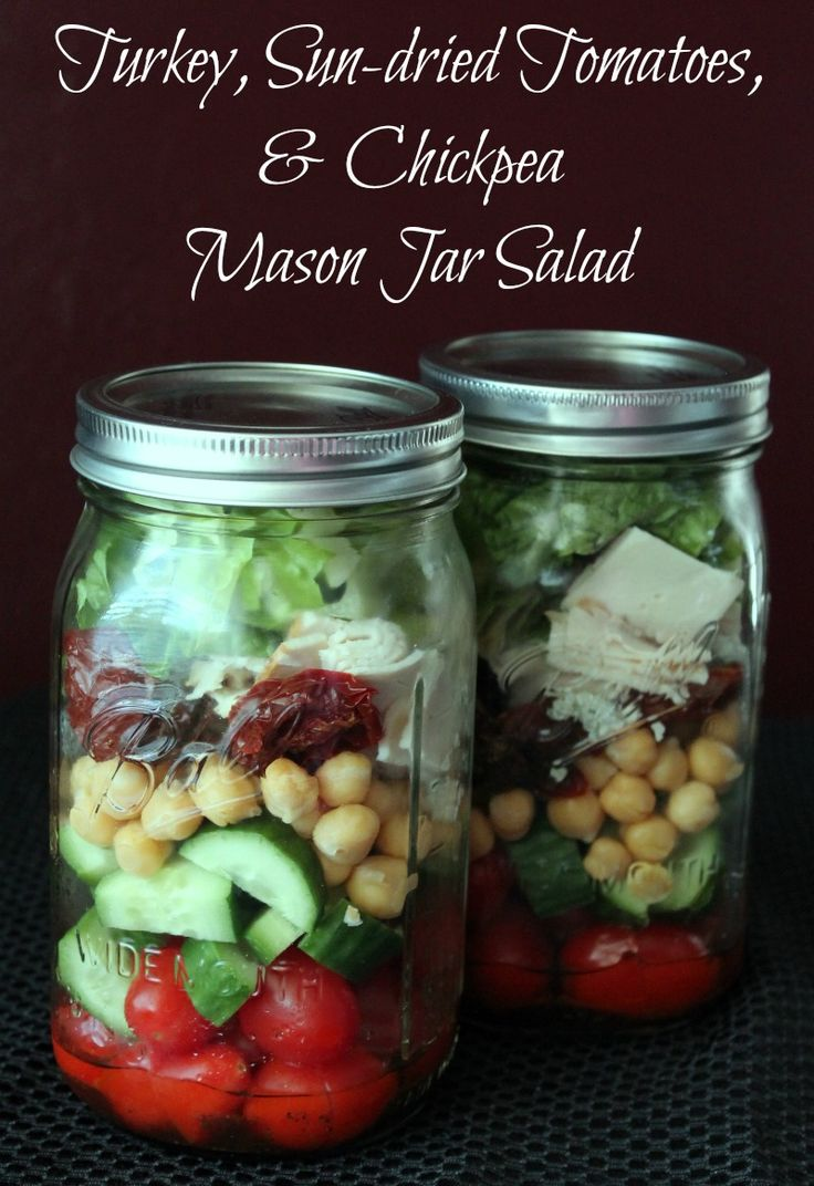 Turkey, Sun-dried tomatoes, and chickpea mason jar salad 337 calories and 8 weight watchers points plus
