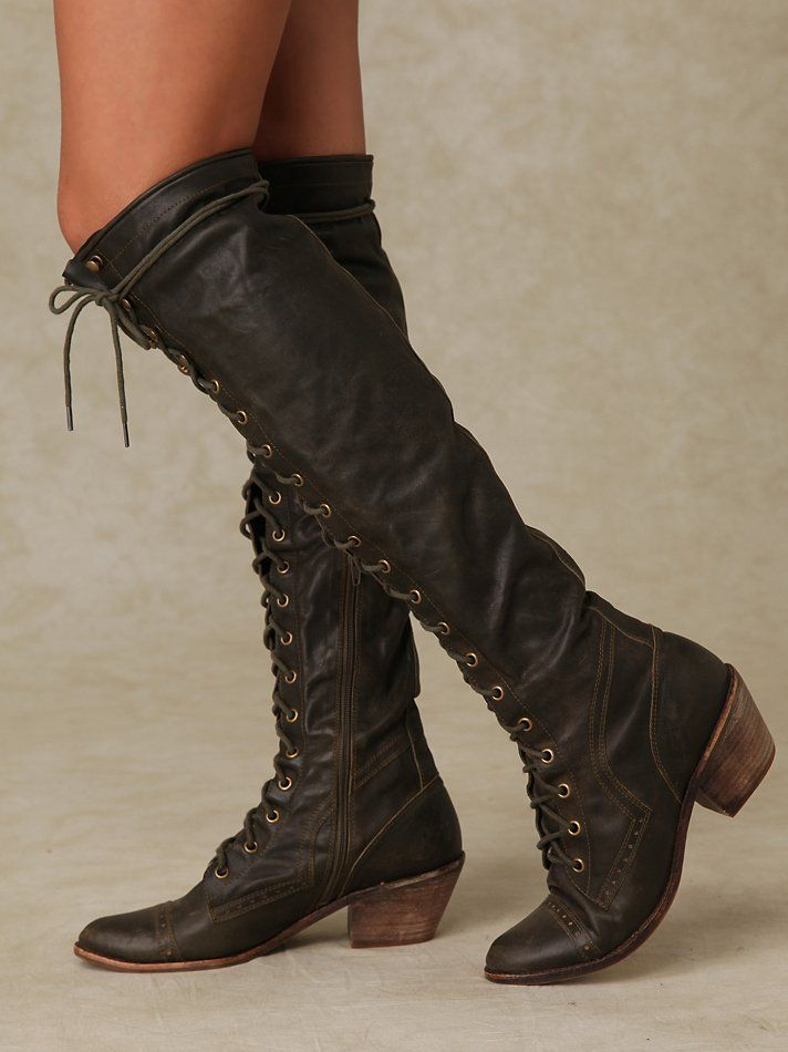 Free People Joe Lace Up Boot - I feel like these would go extremely well  with any steampunk outfit.