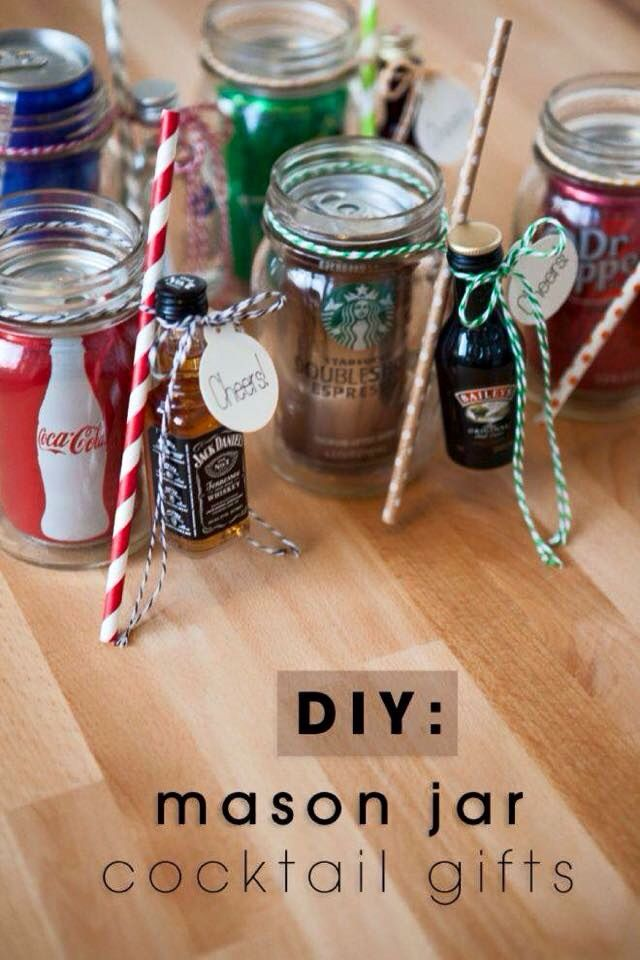 Fun White Elephant Gift Idea: DIY mason jar cocktail gifts.